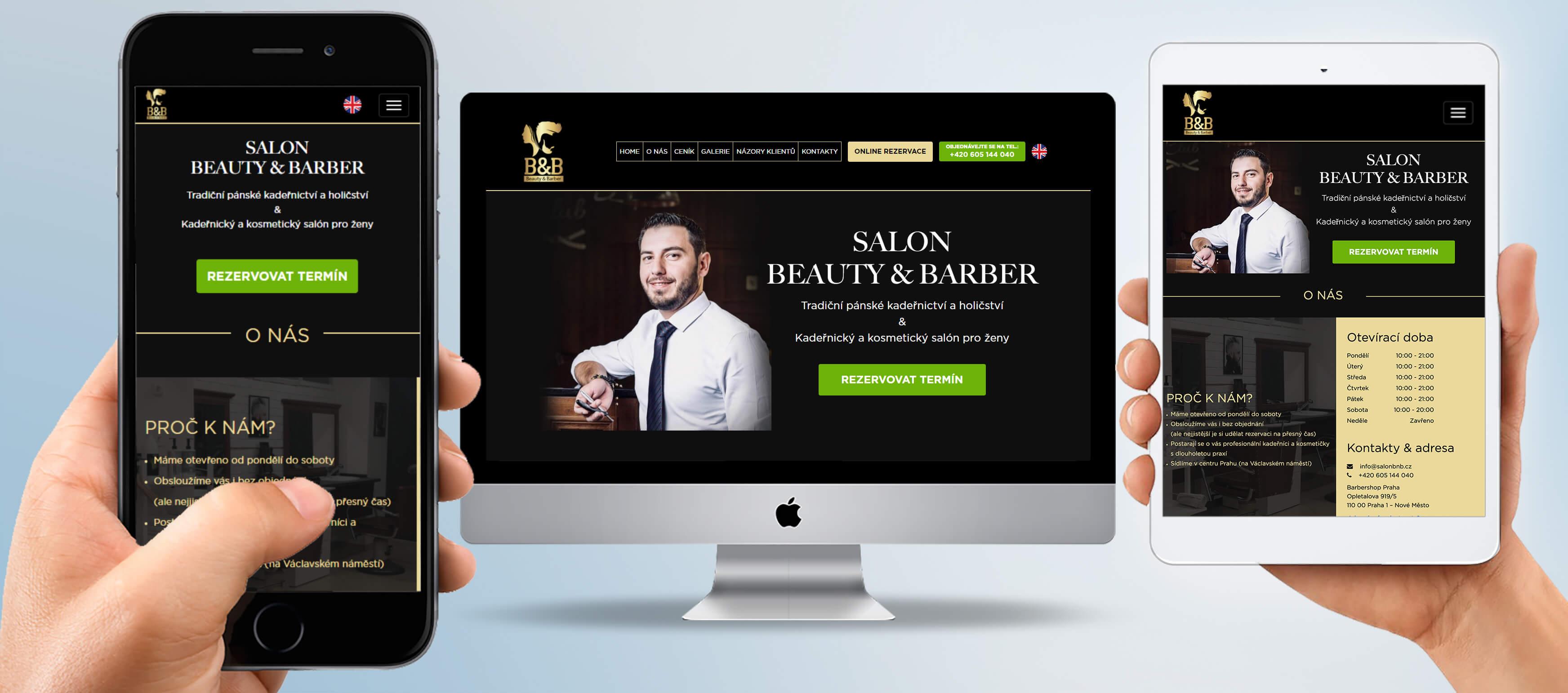 SalonBNB.cz - tvorba webových stránek pro kadeřnický salón